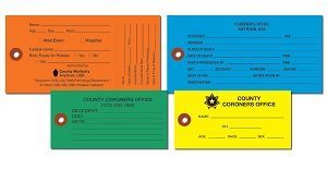 COLORED CREMATION TYVEK TAGS