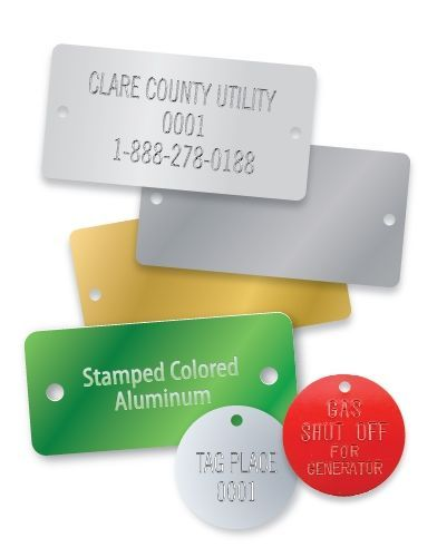 COLORED ALUMINUM RECTANGLE STAMPED TAGS