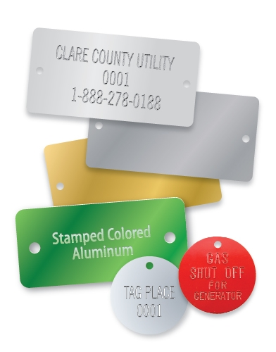 STAMPED COLORED ALUMINUM RECTANGLE TAGS