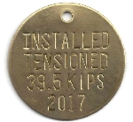 STAMPED ROUND BRASS VALVE TAGS 1 1/2 or larger