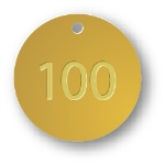 PRE-NUMBERED 1.5 INCH BRASS TAGS 1-100