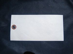 Blank White Tyvek Tags No. 8  3/8 Eyelet