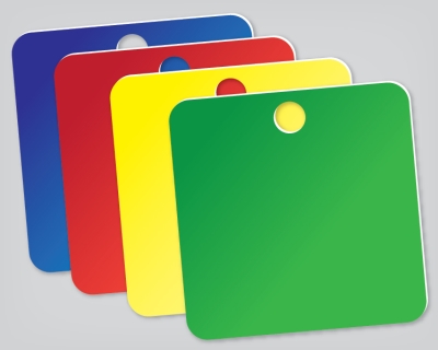 COLORED ALUMINUM SQUARE 1.5 INCH TAGS - 100 pkg