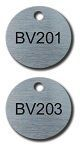 FIBER ETCHED STAINLESS 1.5 INCH ROUND TAGS