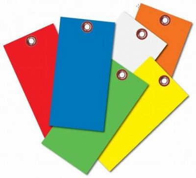 Blank Tyvek Tags Assorted Colors No. 8 Size 1/4 Eyelet with Wires
