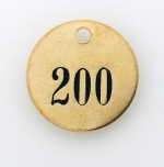 PRE-NUMBERED VALVE TAGS - 1 INCH BRASS ROUND